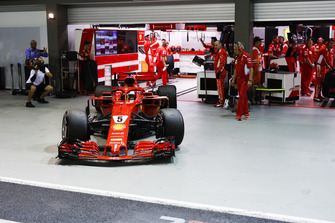Sebastian Vettel, Ferrari SF71H leaves the garage