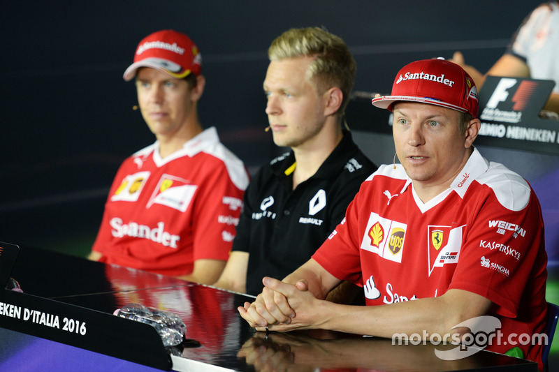FIA Basın Toplantısı: Sebastian Vettel, Ferrari with Kevin Magnussen, Renault Sport F1 Team ve Kimi Raikkonen, Ferrari