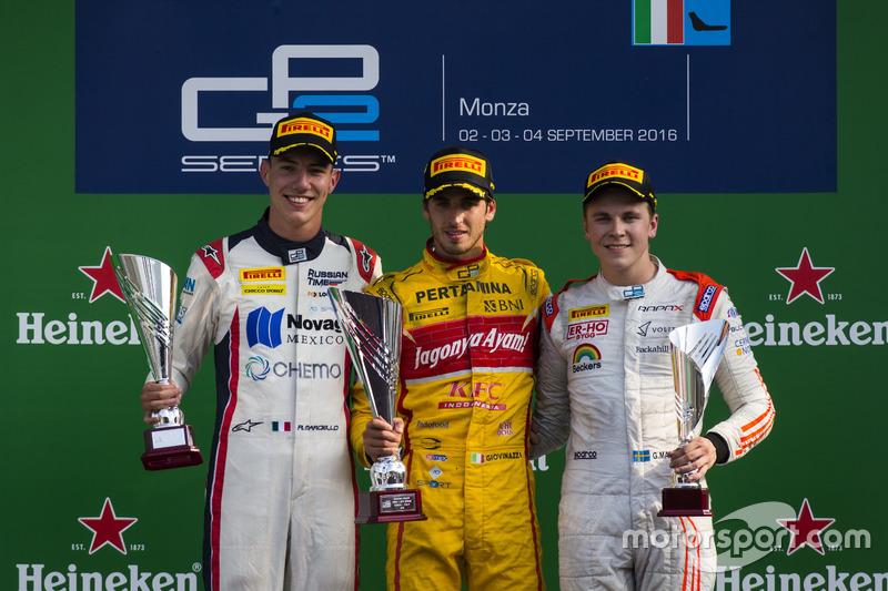 Podium: Antonio Giovinazzi, PREMA Racing, Raffaele Marciello, RUSSIAN TIME and Gustav Malja, Rapax