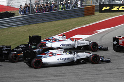 Valtteri Bottas, Williams FW38; Felipe Massa, Williams FW38 and Nico Hulkenberg, Force India VJM09