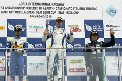 Race 4 rookie podium: Simone Cunati, Vincenzo Sospiri Racing, Kush Maini, BVM Racing, Federico Malvestiti, Antonelli Motorsport