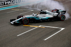 Lewis Hamilton, Mercedes-Benz F1 W08 celebrates in parc ferme and performs donuts