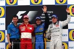 Podio: Remi Matin Renault F1 Team, segundo lugar Michael Schumacher, Ferrari, ganador de la carrera Fernando Alonso, Renault F1 Team, tercer puesto Kimi Raikkonen, McLaren