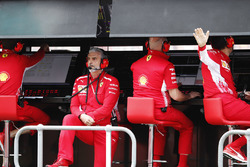 Maurizio Arrivabene, Team Principal, Ferrari, on the pit wall