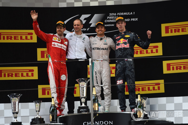 2016: 1. Nico Rosberg, 2. Sebastian Vettel, 3. Daniil Kyvat