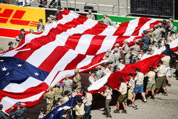 US flag unveiled by US service personnel
