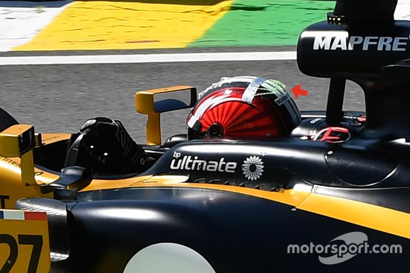 Detalle del casco de Nico Hulkenberg, Renault Sport F1 Team RS17