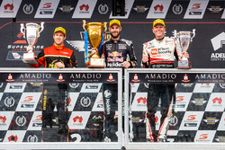 Podium: race winner Shane van Gisbergen, Triple Eight Race Engineering Holden, second place David Reynolds, Erebus Motorsport Holden, third place Garth Tander, Garry Rogers Motorsport Holden