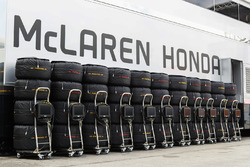 A line-up of stacked and blanketed Pirelli tyres for Stoffel Vandoorne, McLaren MCL32 and Fernando Alonso, McLaren