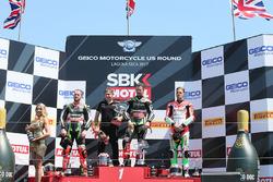 Podium: 1. Jonathan Rea, Kawasaki Racing; 2. Tom Sykes, Kawasaki Racing; 3. Chaz Davies, Ducati Team