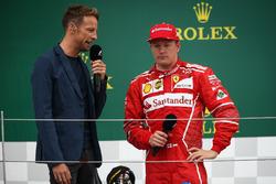 Jenson Button, McLaren and Kimi Raikkonen, Ferrari on the podium