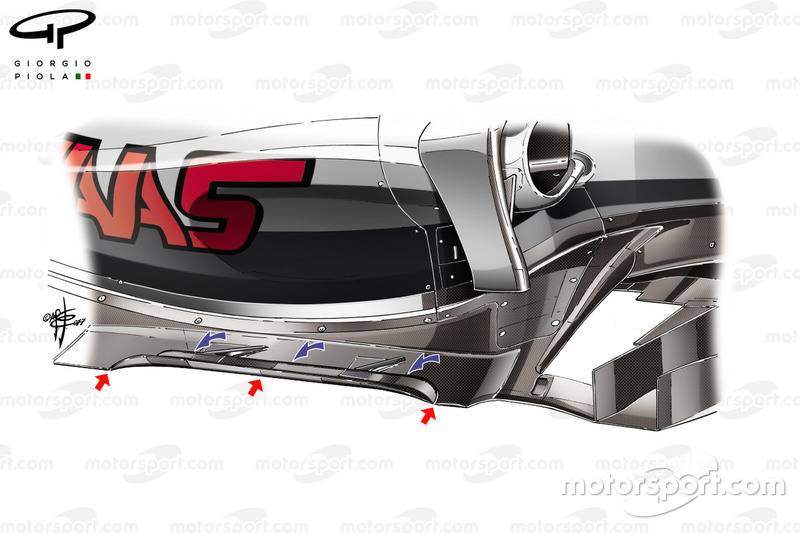 Haas VF-17 floor details, captioned