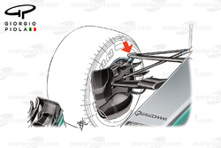Mercedes W08 front suspension, captioned