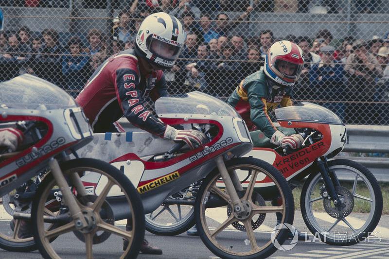 Angel Nieto, Bultaco 50cc y Eugenio Lazzarini, Kreidler