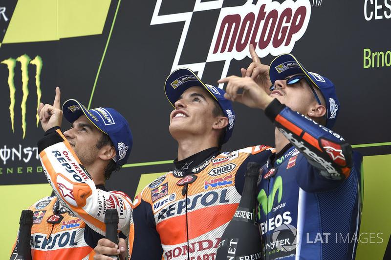 Дані Педроса, Repsol Honda Team, Марк Маркес, Repsol Honda Team, Маверік Віньялес, Yamaha Factory Racing
