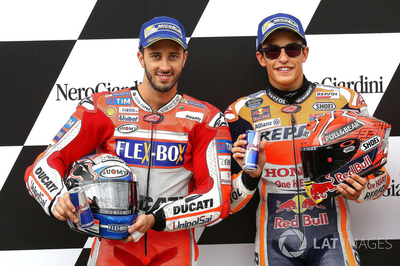 Second place for Andrea Dovizioso, Ducati Team, Polesitter Marc Marquez, Repsol Honda Team