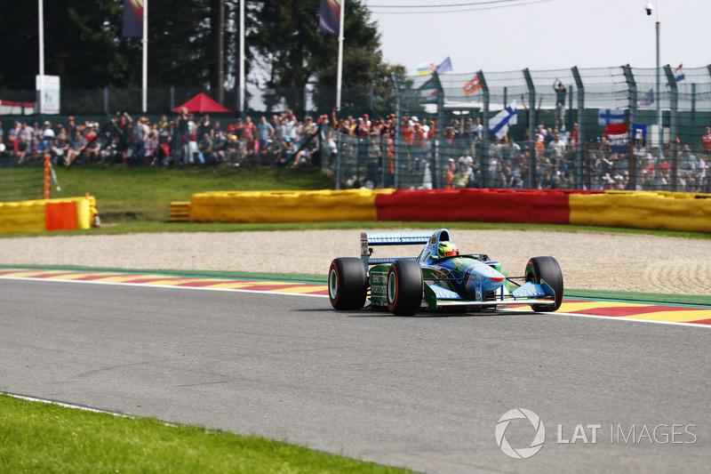 Mick Schumacher drives the Benetton Ford B194