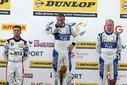Podium: race winner Jason Plato, Team BMR Subaru Levorg, second place Ashley Sutton, Team BMR Subaru Levorg, third place Colin Turkington, West Surrey Racing BMW 125i M Sport