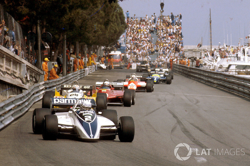 Riccardo Patrese, Brabham BT49D Ford, Alain Prost, Renault RE30B, Didier Pironi, Ferrari 126C2 ve Andre de Cesaris, Allfa Romeo 182