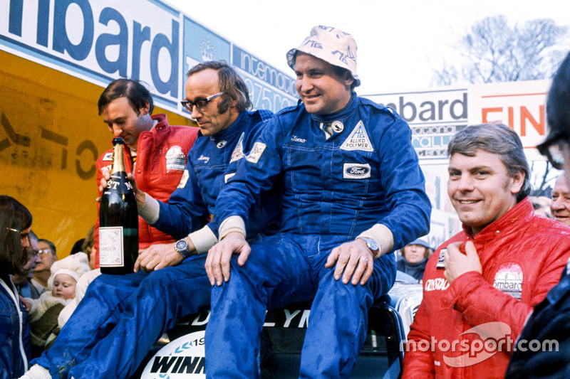 Podium: race winners Timo Makinen, Henry Liddon, second place Roger Clark, Tony Mason
