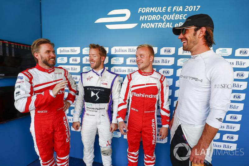 Nick Heidfeld, Mahindra Racing, Sam Bird, DS Virgin Racing, Felix Rosenqvist, Mahindra Racing, y Jean-Eric Vergne, Techeetah