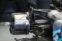 Vue détaillée d'une écope de frein arrière d'une Mercedes AMG F1 W09
