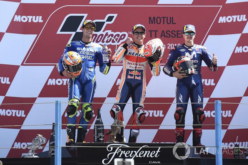 Podio: segundo puesto Alex Rins, Team Suzuki MotoGP, ganador de la carrera Marc Marquez, Repsol Honda Team, tercer puesto Maverick Viñales, Yamaha Factory Racing