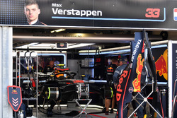 The car of Max Verstappen, Red Bull Racing RB14 in the garage during Qualifying