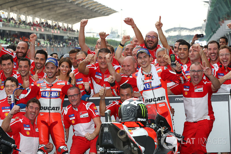 Race winner Andrea Dovizioso, Ducati Team, second place Jorge Lorenzo, Ducati Team