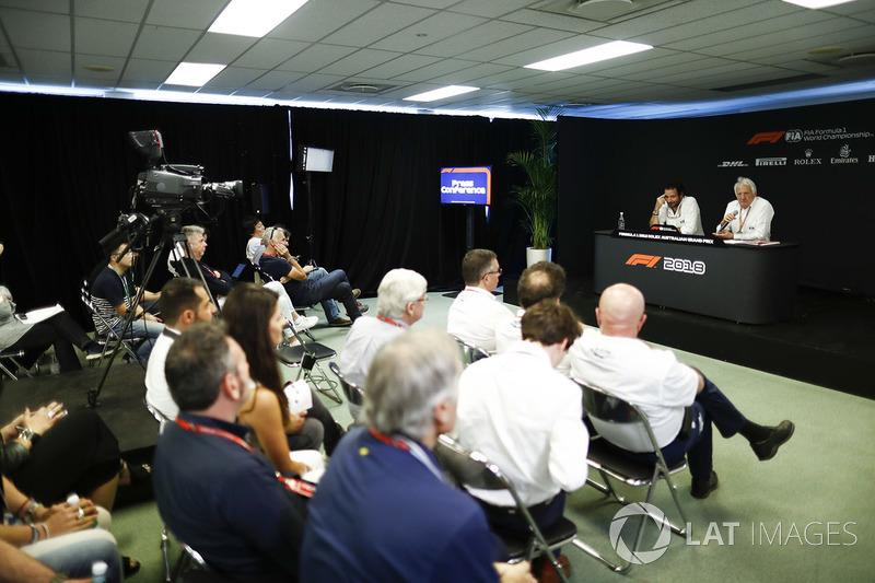 Matteo Bonciani, Media Delegate, FIA, and Charlie Whiting, Race Director, FIA, in the Thursday FIA Press Conference