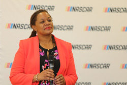 Dawn Harris, Director of Multicultural Development for NASCAR speaks at the 2017 NASCAR Drive for Diversity Combine at NASCAR headquarters