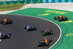 Daniel Ricciardo, Red Bull Racing RB13, goes wide after contact, Max Verstappen, Red Bull Racing RB1