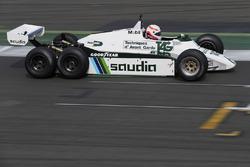 Martin Brundle tests the six-wheeled FW08