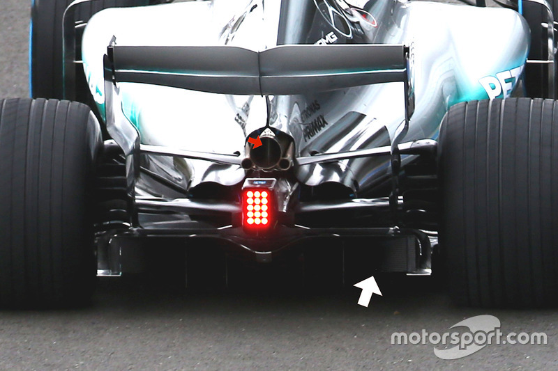 mercedes amg f1 w08 diffuser detail at mercedes amg f1 w08 launch. Black Bedroom Furniture Sets. Home Design Ideas