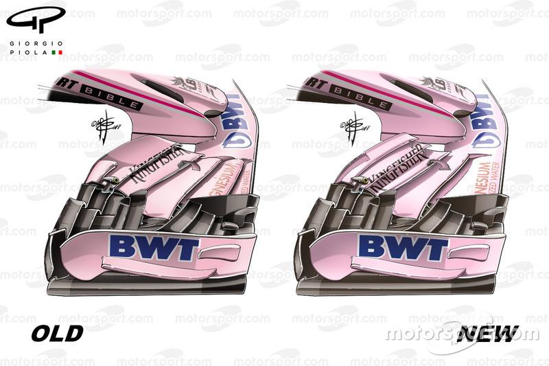 Force India VJM10: Frontflügel, Vergleich