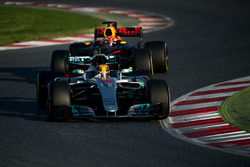 Lewis Hamilton, Mercedes AMG F1 W08 leads Max Verstappen, Red Bull Racing RB13