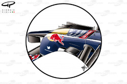 Toro Rosso STR9 new nose detail with taller wing pillars and Red Bull style cooling inlet at tip