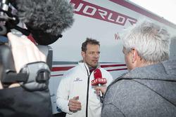 Alexander Wurz speaks to media at the World RX Team Austria Ford Fiesta test