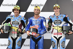 Top3 after qualifying, second place Franco Morbidelli, Marc VDS, Polesitter Mattia Pasini, Italtrans Racing Team, third place Alex Marquez, Marc VDS