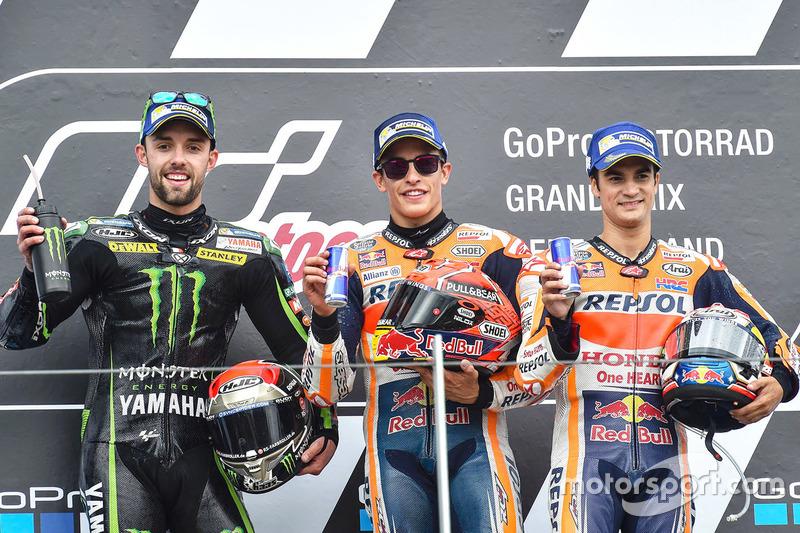 Podio: 1º Marc Márquez, 2º Jonas Folger, 3º Dani Pedrosa
