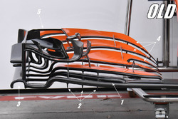 McLaren MCL32'in detaylı eski ön kanadı
