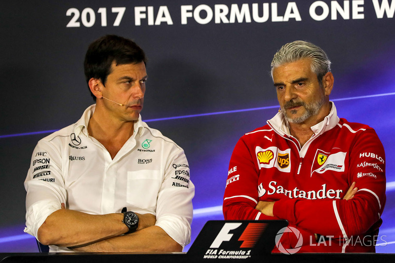 Toto Wolff, Mercedes AMG F1 Director of Motorsport and Maurizio Arrivabene, Ferrari Team Principal in the Press Conference