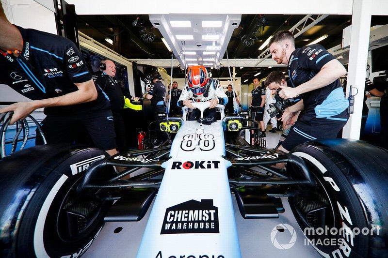 Robert Kubica, Williams Racing, settles in to his seat