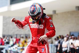Kimi Raikkonen, Ferrari, 1st position, celebrates on arrival in Parc Ferme