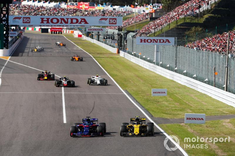Брендон Хартлі, Toro Rosso STR13, Карлос Сейнс, Renault Sport F1 Team R.S. 18, Кевін Магнуссен, Haas F1 VF-18, Шарль Леклер, Sauber C37 і Даніель Ріккардо Red Bull Racing RB14