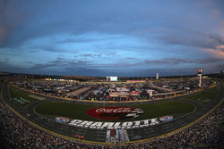 The sun sets over Charlotte Motor Speedway
