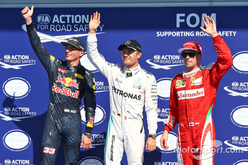 Qualifying top three in parc ferme (L to R): Max Verstappen, Red Bull Racing, second; Nico Rosberg, Mercedes AMG F1, pole position; Kimi Raikkonen, Ferrari, third