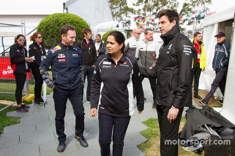 Monisha Kaltenborn, Sauber Team Principal, Christian Horner, Red Bull Racing Team Principal and Toto Wolff, Mercedes AMG F1 Shareholder and Executive Director