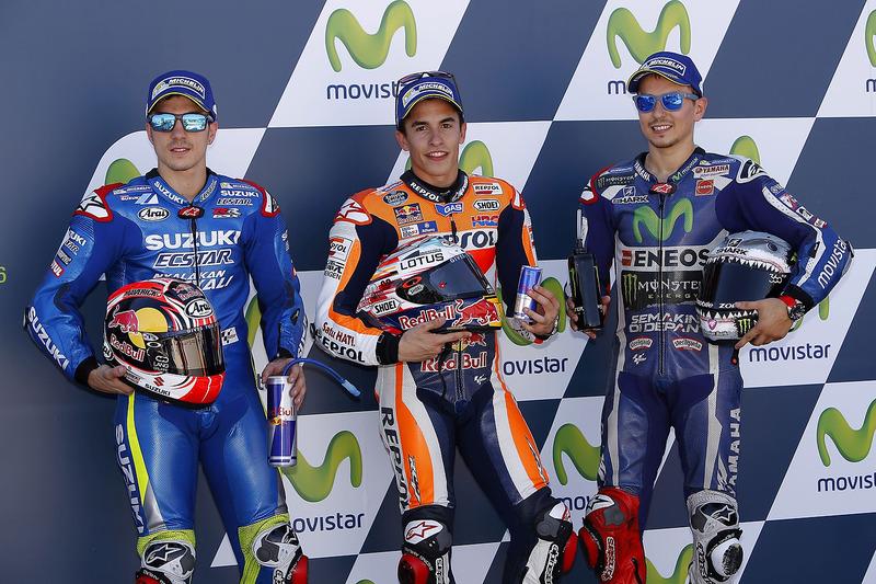 Polesitter Marc Marquez, 2. Maverick Vinales, 3. Jorge Lorenzo
