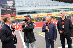 (L to R): Simon Lazenby, Sky Sports F1 TV Presenter; Lewis Hamilton, Mercedes AMG F1; Johnny Herbert